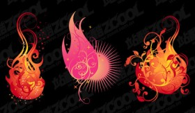 3 flame shape pattern vector material