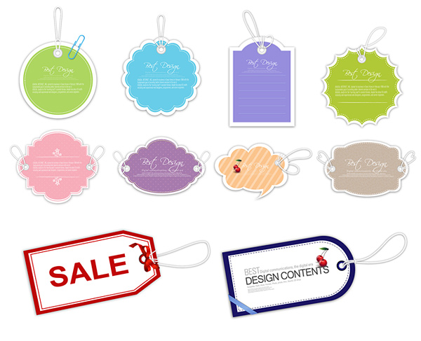 Cute tag labels vector