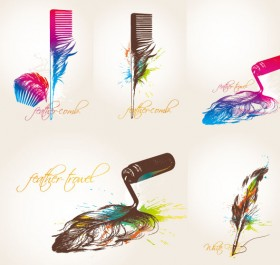 Feather theme vector material