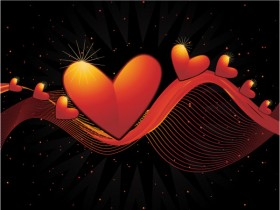 Heart shaped dynamic lines background vector material  2
