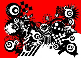 Red and black with the trend of design elements Vector