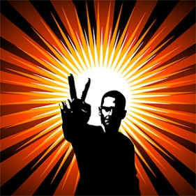 The victory gesture People radiation background of vector material