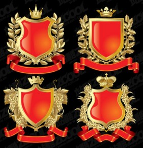 European crown shield vector material