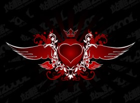 Trend wings heart shaped vector material