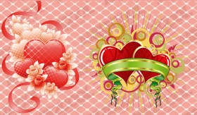 The streamers with heart shaped vector material