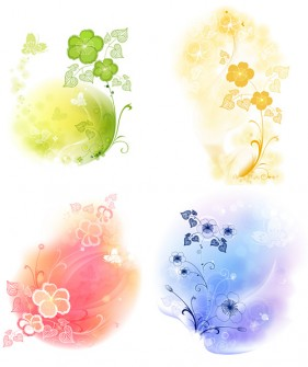 4 soft pattern background vector material