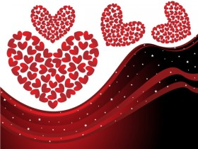 Heart shaped dynamic lines background vector material