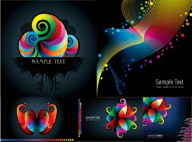 Colorful patterns and lines Vector material