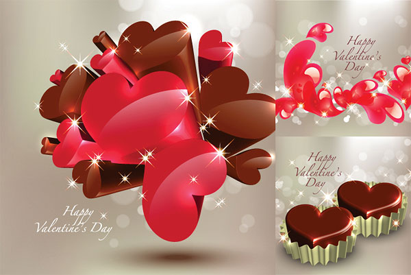 Three dimensional heart shaped chocolate vector material