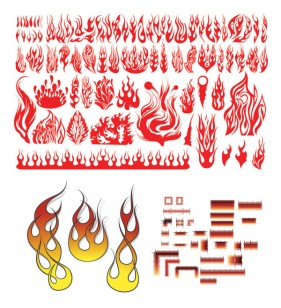 Variety of practical fire totem vector material
