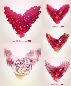 abstract heart shaped pattern vector material