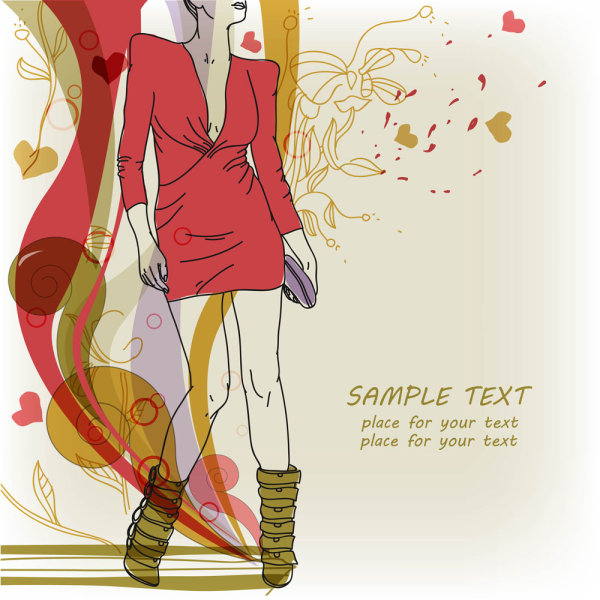 stylish hand painted beauty illustrator 05   vector material fashion; hand painted; beauty; illustrator; patterns; lines; shading; patterns; blood red; line drawing; line art; Vector
