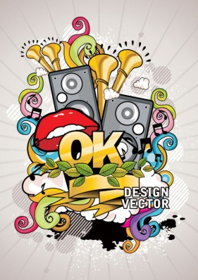 trend of music posters 01   vector material