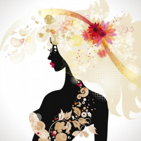 fashionable beauty silhouette 03   vector material