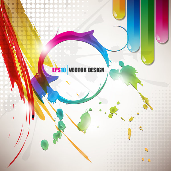 Vector color paint splatter background 03   vector material