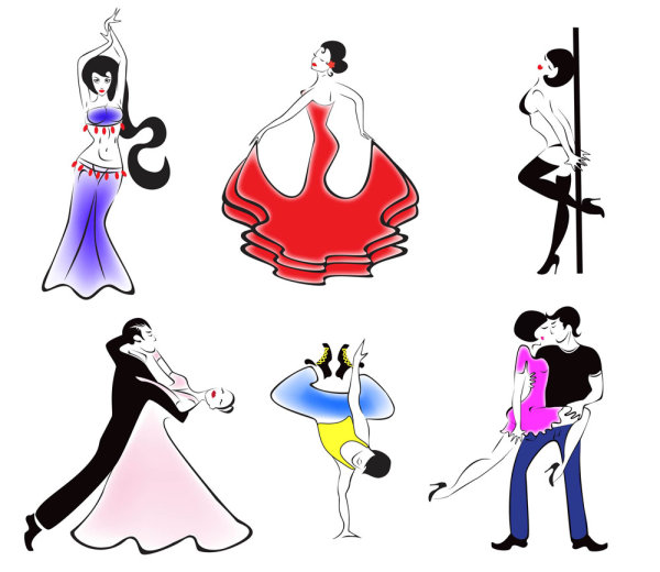People dancing silhouette 01   Vector