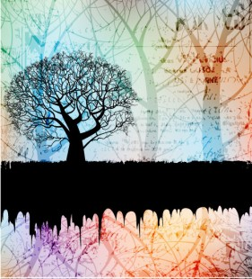 tree silhouette background 01   vector material