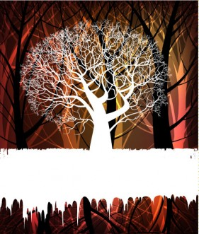 tree silhouette background 02   vector material