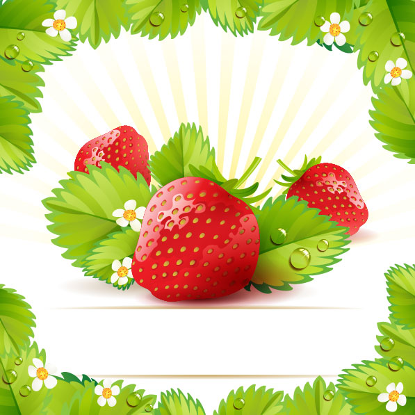 strawberry theme background 01   vector material