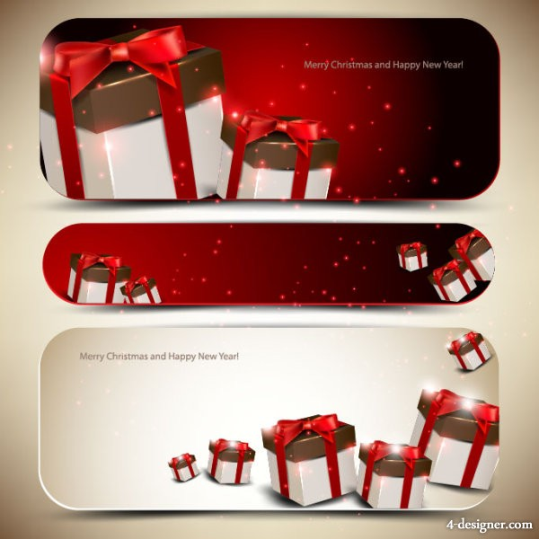 Banner01 exquisite gift box vector material