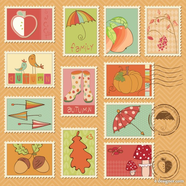 Cartoon illustration of stamps 04   Vector