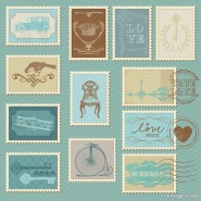 Cartoon illustration of stamps 05   Vector