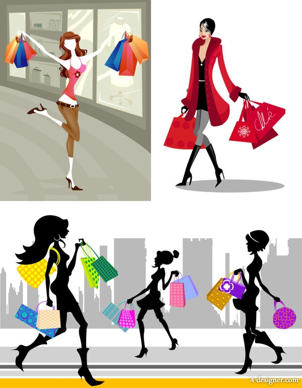 Shopping fashion figures vector material