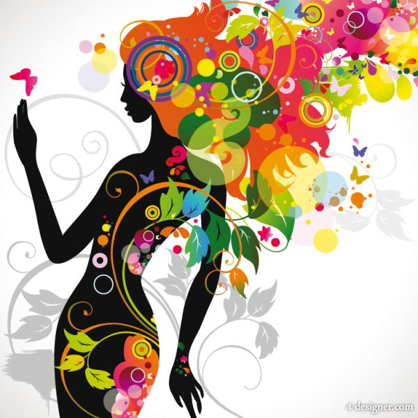 fashionable beautiful silhouette 01   vector material