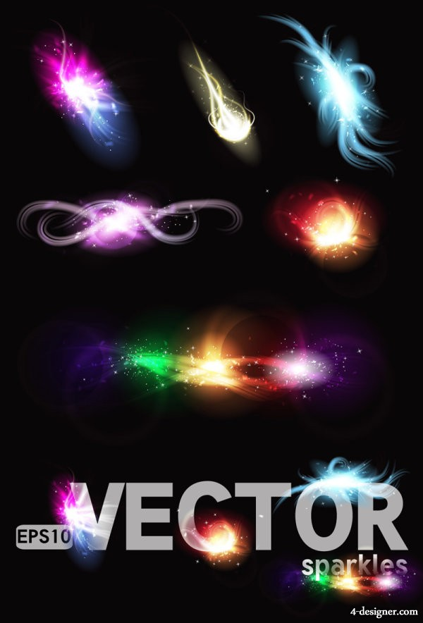 gorgeous bright lighting effects 04   vector material