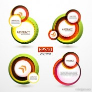 Colorful ring stickers 01   Vector