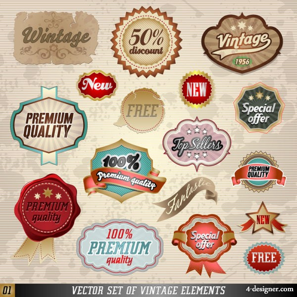 Paste the classic label marked 01   vector material