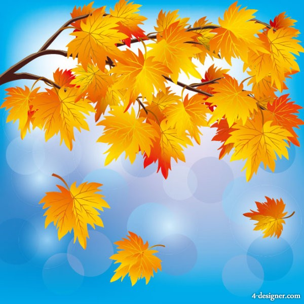 beautiful autumn leaf background vector material 05   Vector