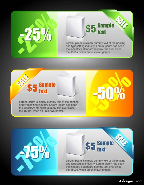 Color banners banner02 Vector   Vector color; banners; banner; wrap angle; price cuts; discount; sales;