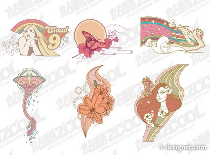 The trend of clothing prints series of vector material  2
