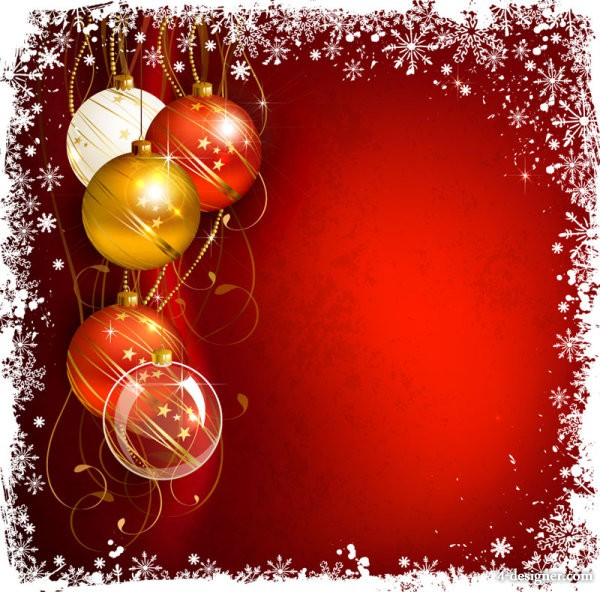 Vector beautiful Christmas ball background 03   vector material