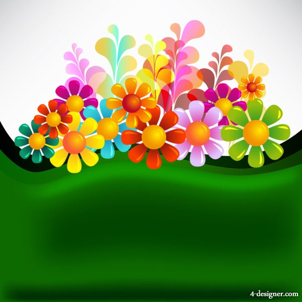 beautiful flowers background vector material 05   Vector