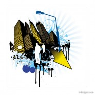 Elements of the trend and urban silhouette 04   vector material