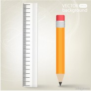 Realistic learning stationery 02   vector material