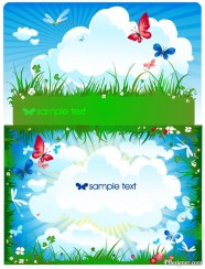 Butterfly meadow clouds Vector
