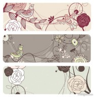 Fashion the cute birdie flowers vector material  1