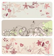 Fashion the cute birdie flowers vector material  2