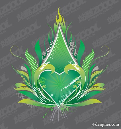 Green heart shaped flame trend element vector material