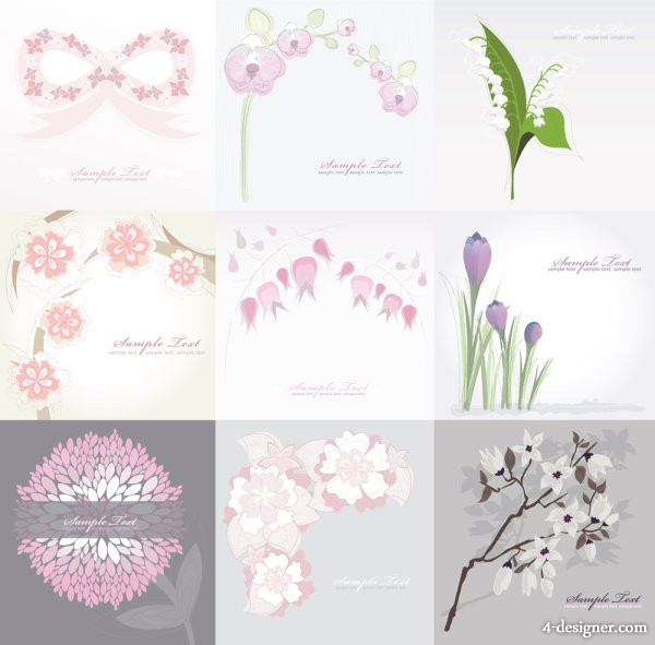 Pure flowers background image   vector material
