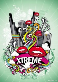 Trend of music posters 03   vector material