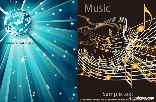 2 models music background vector material