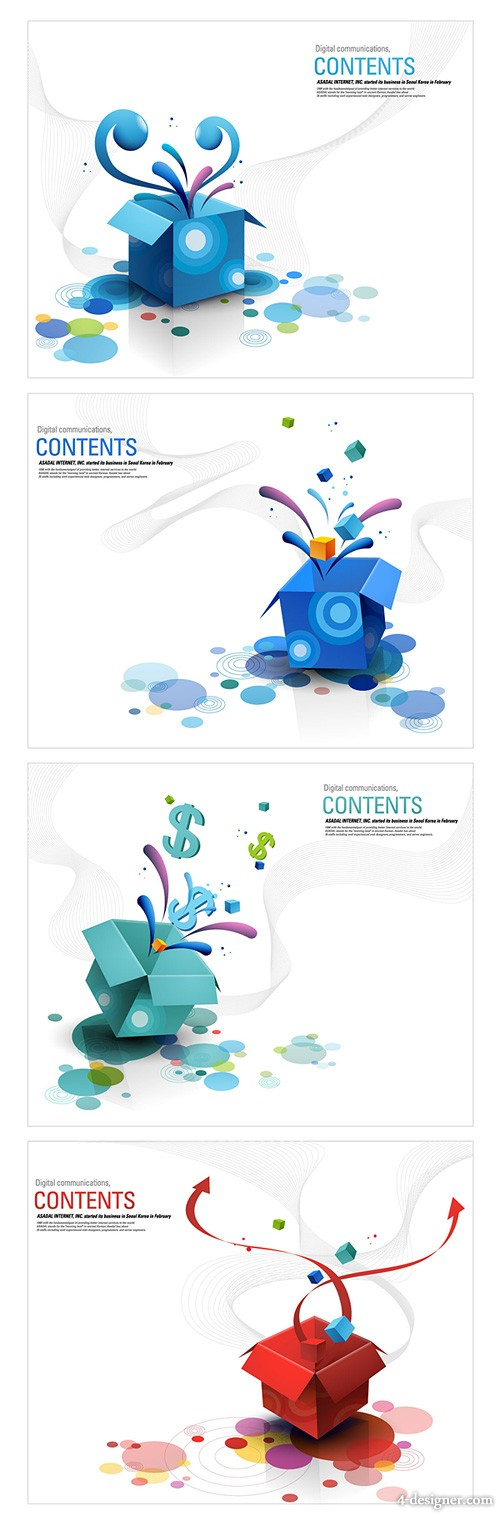 4 models open the colorful box vector material