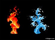 Cool water and fire vector