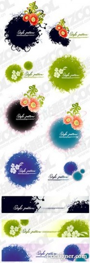 Ink flower pattern vector material