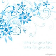 Minimalist blue hand painted flowers and patterns of text in the background vector material  1