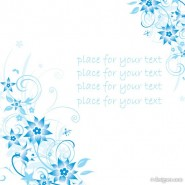 Minimalist blue hand painted flowers and patterns of text in the background vector material  4